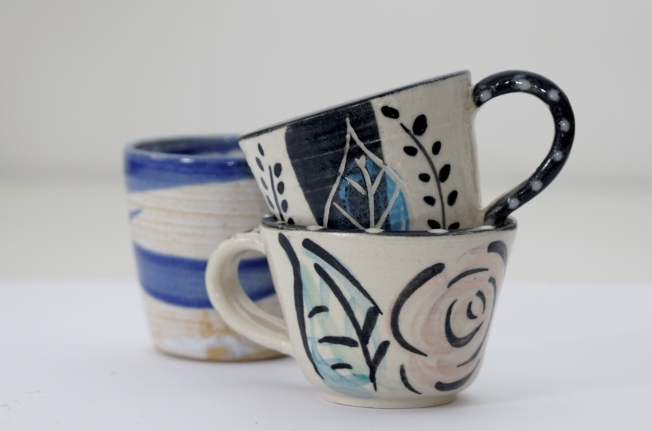 Slipped Stoneware Coffee Cups